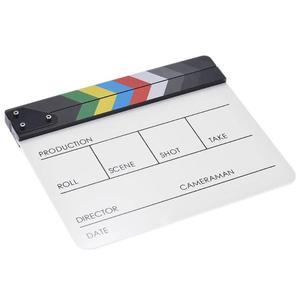 Image 5 - אקריליק צבעוני Clapperboard קלאפר לוח יבש למחוק מנהל לחתוך טלוויזיה סרט סרט פעולה צפחת Clap בעבודת יד לחתוך אבזר