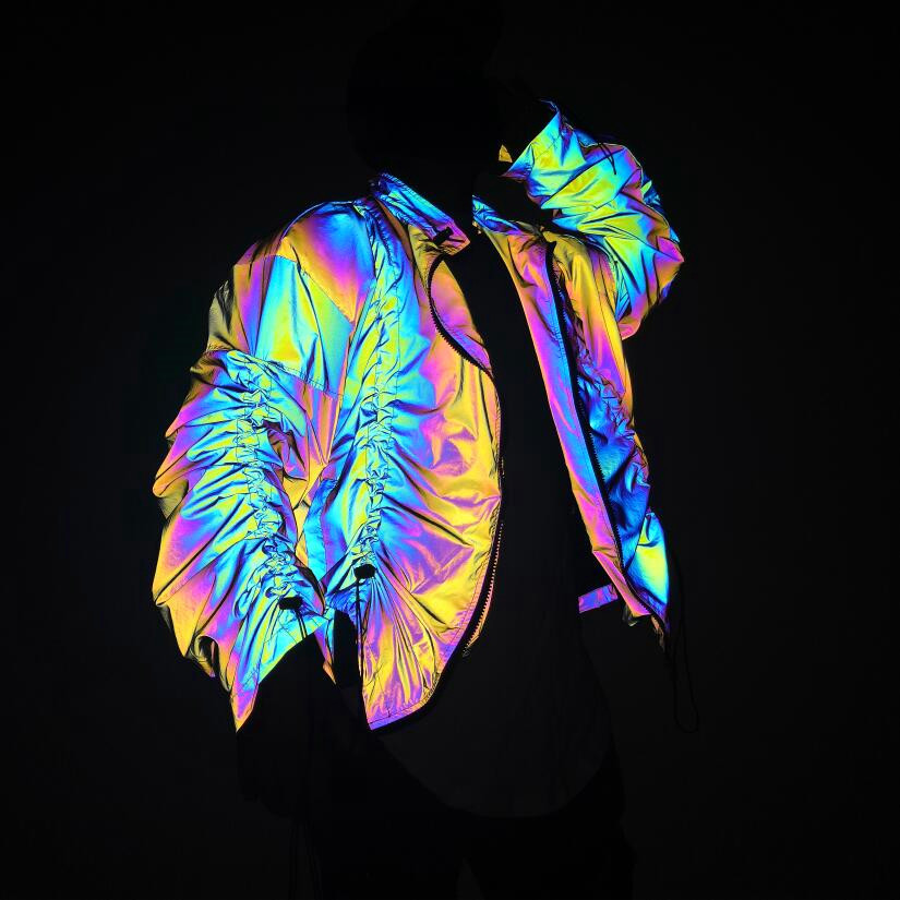2020 Men's New Autumn Colorful Reflective Collar Jacket Adolescent Personality Drawstring Folds Hip-Hop Loose Jacket