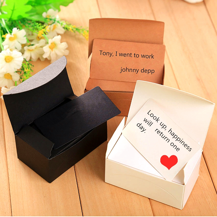 100 Sheets / Box Of Double-sided Blank Kraft Paper Business Card Word Information Card Hand-painted Graffiti Card DIY Gift Card