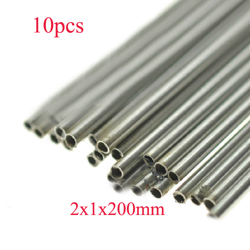 10PCS 2x1x200mm Stainless Steel Tube Metal Hollow Casing Pipe Transmission Shaft Tube DIY Material for Boat/Aircraft Model Parts image