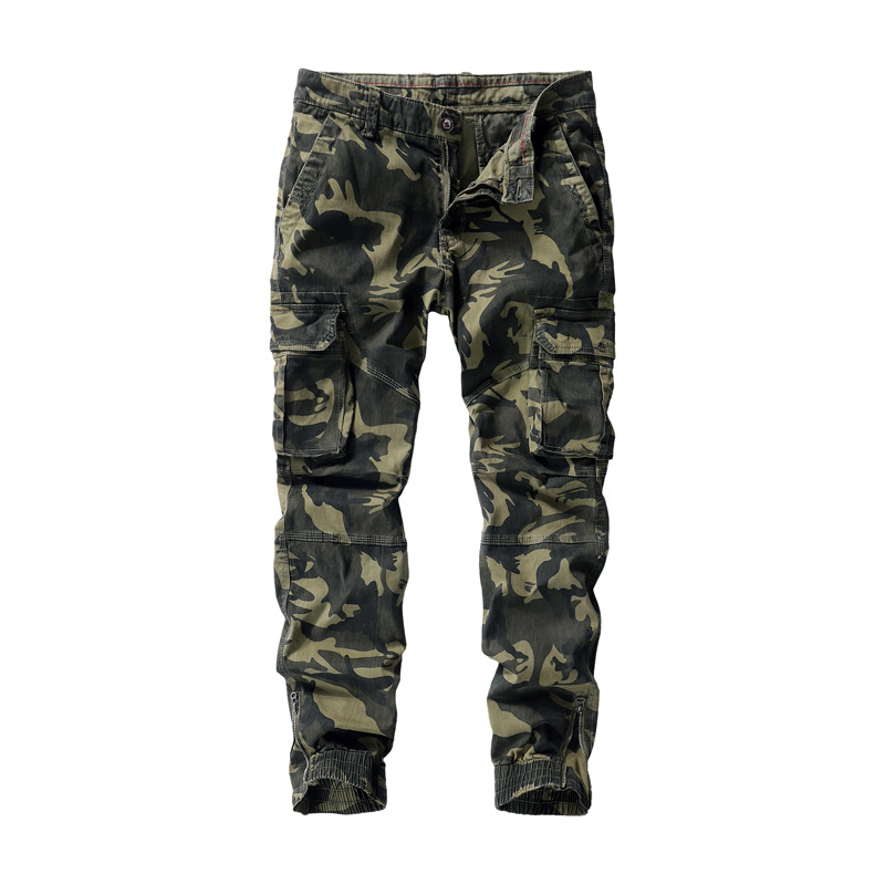 Mens Trousers Pant-Legs Casual-Pants Zipper-Cuffs Cargo Trend Camouflage Fashion Pocket