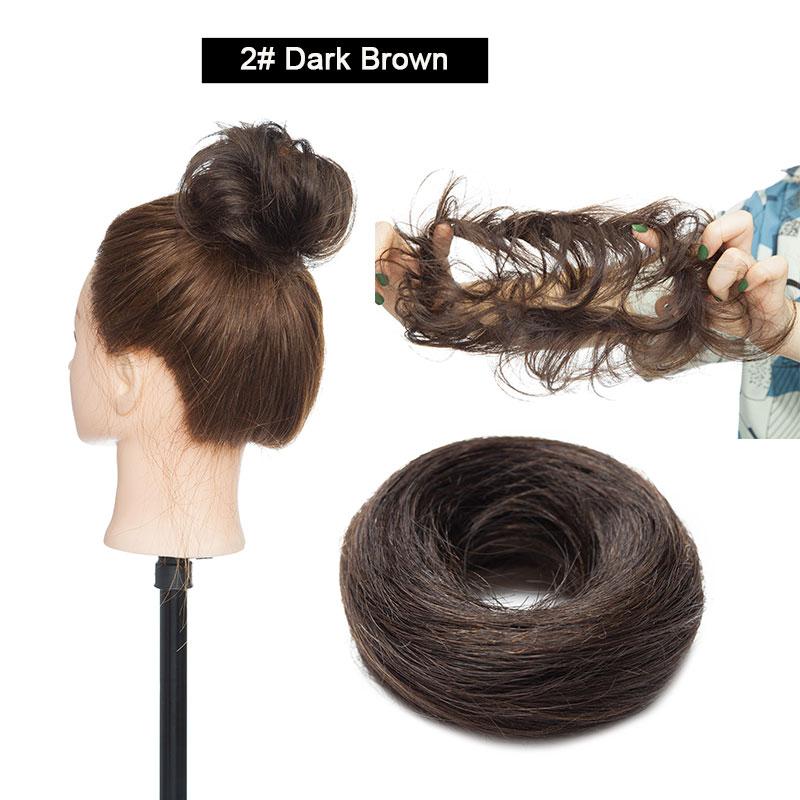 Sego, европейские человеческие волосы, не Реми, резинка, шиньон, 23 г, черный, коричневый, натуральный, Dount, шиньон, 6 цветов, человеческие волосы, чистый цвет - Цвет: #2