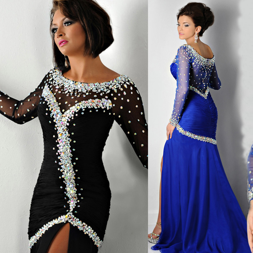 2018 Sexy Robe De Soiree Black Royal Blue Crystal Long Sleeve Evening Chiffon Mermaid Prom Gown Mother Of The Bride Dresses