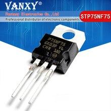 Novo transistor de fet stp75nf75 para 220 p75nf75 to220 75nf75, com 10 peças