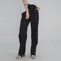 Women Check Black Plaid Pants Scottish Casual Loose Elastic Waist High Waist Ladies Trousers Slacks Streetwear 2019 Autumn