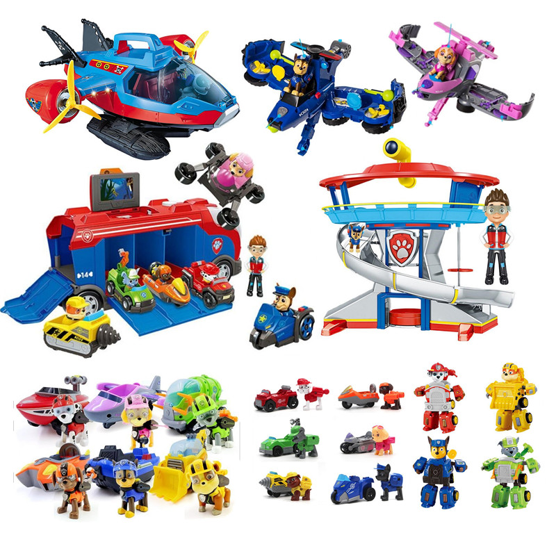 Paw Patrol Dog Toy Complete Command Center Aircraft Rescue Vehicle Tracker Ryd Patrula Canina Movable Doll Children's Toy Gift