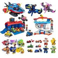 Muñeco de Paw Patrol con centro de mando completo para niños, rastreador de vehículos de rescate, móvil, juguete para regalo