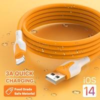 Cavo USB in Silicone morbido per iPhone 12 11 Pro Max X XR XS 8 7 6s 3A cavo di ricarica per cellulare a ricarica rapida cavo dati cavo 1/2m