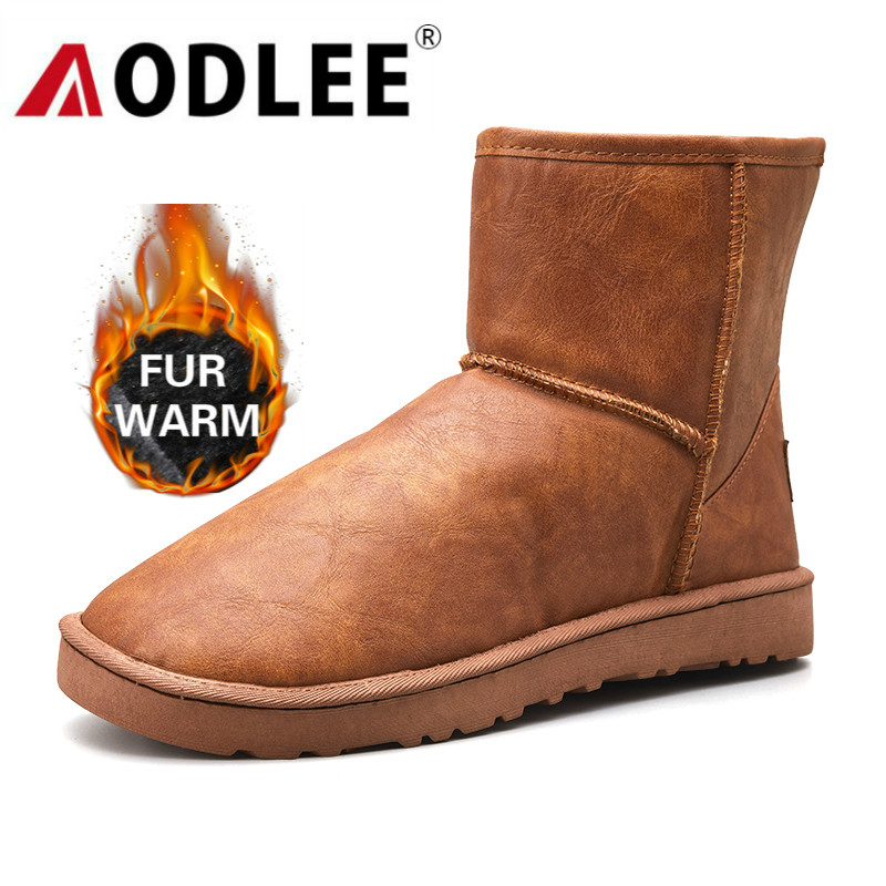 Keep Warm Snow Boots Men Waterproof Fashion Mens Boots Leather Casual Shoes Ankle Boots Plush Winter Men Warm Snow Boots Size 45