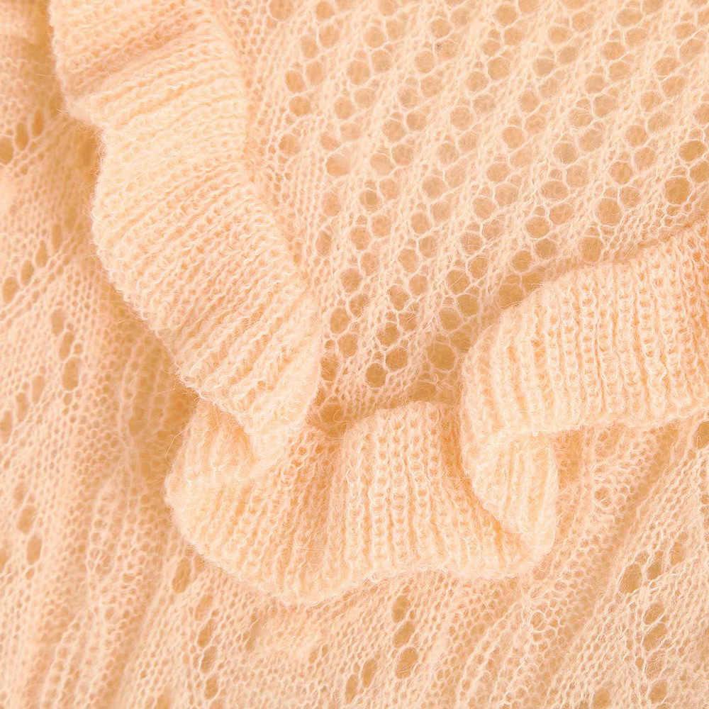 Vintage Manis Ruffles Berongga Keluar Rajutan Sweater Wanita 2020 Fashion O Leher Panjang Lengan Elastis Wanita Pullovers Chic Atasan