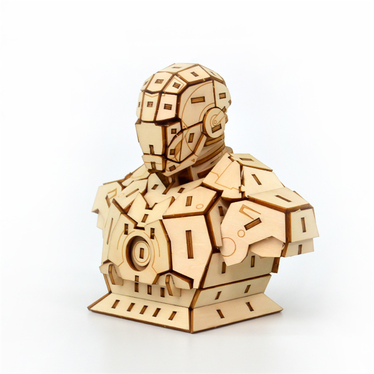 Laser Cutting DIY Marvel Avengers Iron Man Toys 3D Wooden Puzzle Toy Assembly Model Wood Craft Kits Desk Decoration For Children