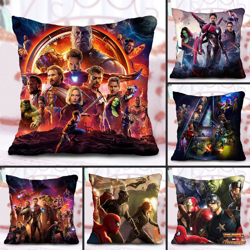 1pcs 45x45cm Marvel's The Avengers3 Unlimited War Pillowcase Polyester Pillowcases Waist Pillow Cover Decorative Pillows Cover