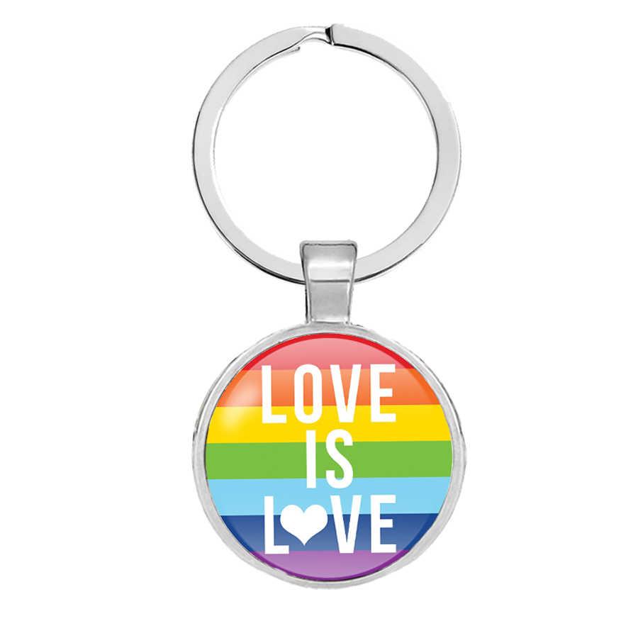 Banderas de arco iris Llavero de cúpula de cristal lesbiana gay LGBT orgullo bandera coche llave Cadena de Metal plateado anillo de llave Llavero Thanos