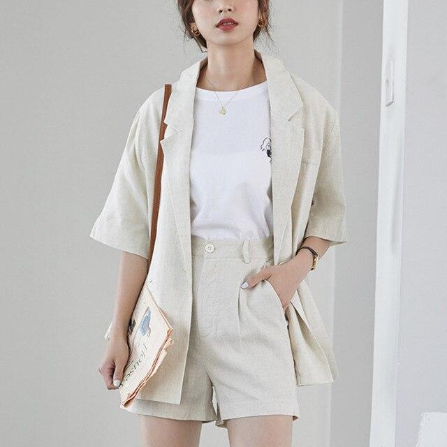 Korean Casual Cotton And Linen Blazer Set Summer Clothes For Women One Button Jacket Coat & Shorts 2 Piece Set Female Pants Set