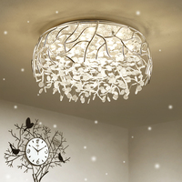 LED crystal art leaves modern ceiling lamp Nordic home decoration lamp bedroom living room hanging lamp