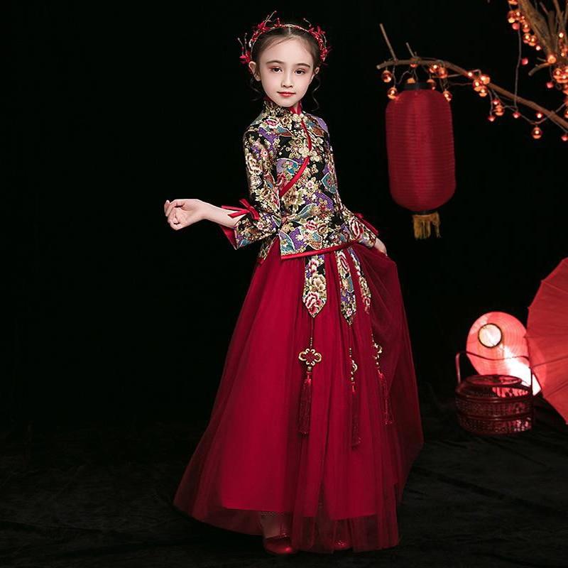 Chinese Embroidery Flower Dress HanFu Dresses For Girls Wedding Bridesmaid Kids Cheongsam New Year Dress Vestido Chino