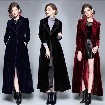 New 2019 Winter Runway Designer Women Vintage Notched Collar Wrap Black Velvet Maxi Coat Thick Warm Long Trench Coat Outwear 1