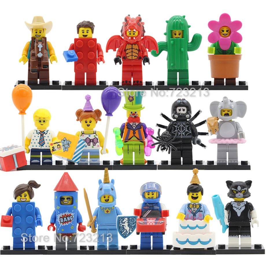 Single Fun Figure Dragon Unicorn Cactus Man Cake Balloon Boy Flowerpot Firework Girl Building Blocks Sets Bricks Toys Legoing