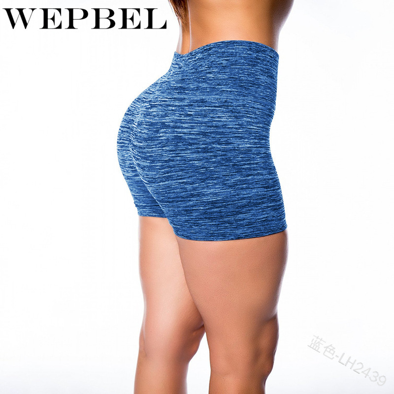 WEPBEL Women Yoga Shorts Sports Running Sportswear Fitness Seamless Joggers Athletic Exercise Gym Compression High Waist Shorts