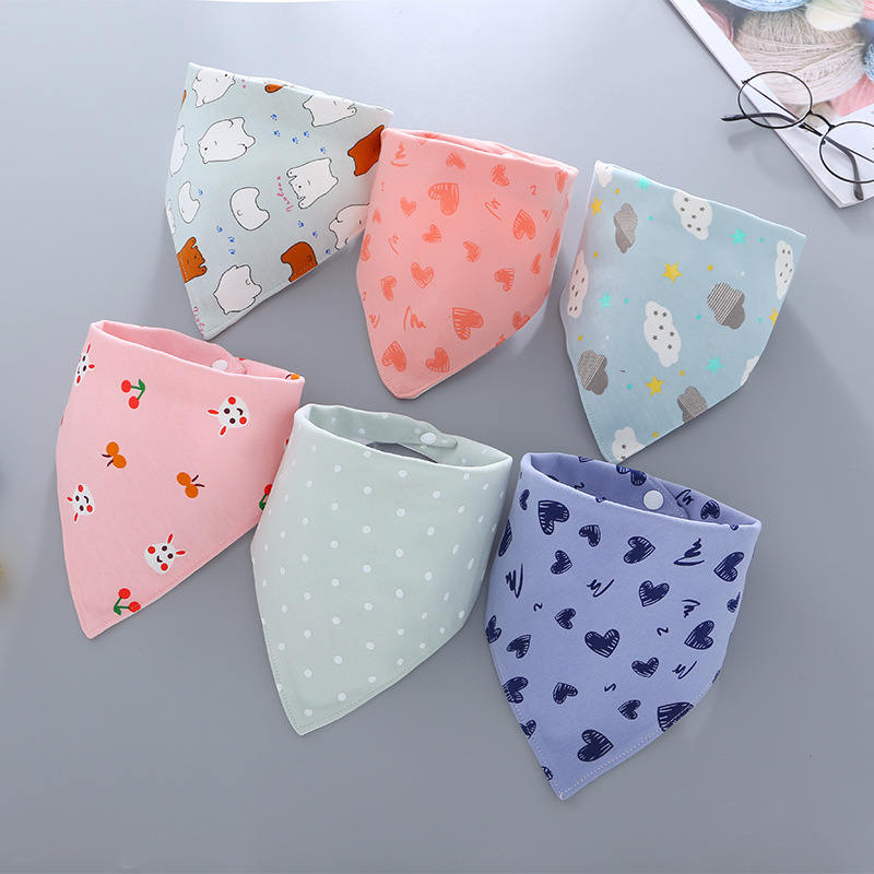 Imebaby Cotton Waterproof Baby Bib Three Layers Fashionable Adjustable Cotton Saliva Towel Bib Baby Cotton Unisex