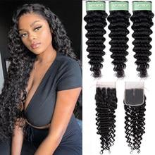 Aircabin Deep Wave Bundles With Closure Brazilian Remy Human Hair Bundles With Lace Closure Deep Curly 3/4 Bundles With Closure