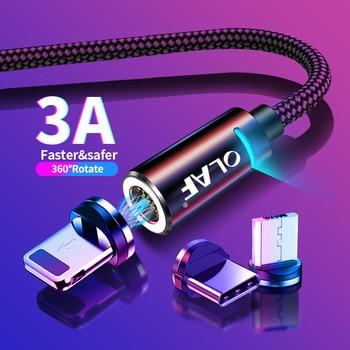 Cable magnético OLAF 2M Cable Micro USB tipo C para iPhone Cable de iluminación 1M 3A Cable de carga rápida tipo C Cable del teléfono del cargador del imán