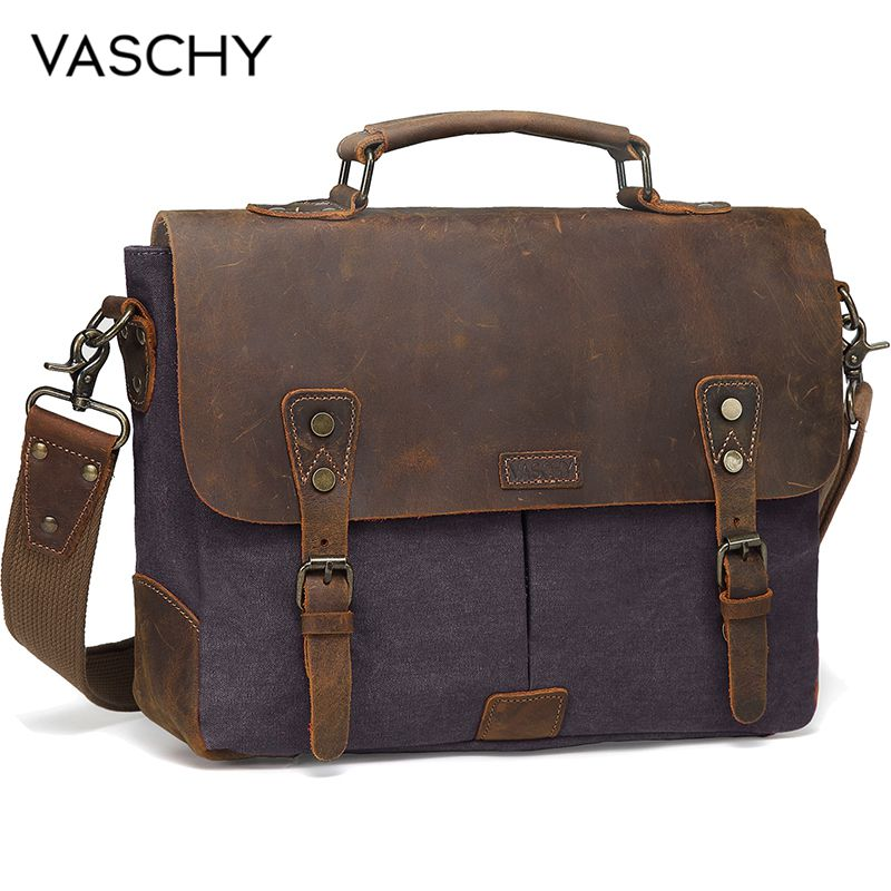 VASCHY  Messenger Bag Men Leather Genuine Leather Canvas 14inch Laptop Briefcase Crossbody Satchel Bag For Men