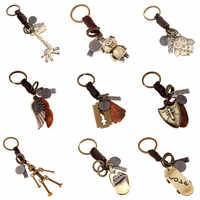 Modyle 2020 New Fashion Genuine Leather KeyChain Punk Rock Vintage Metal Key Chains for Man Woman Jewelry Gifts