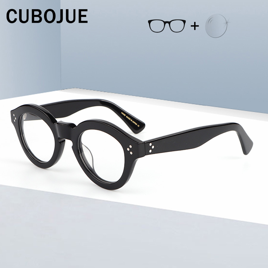 CUBOJUE Acetate Vintage Glasses Men Women Eyeglasses Frames Man Spectacles With Clear Lens Fake Thick Heavy Nerd Points