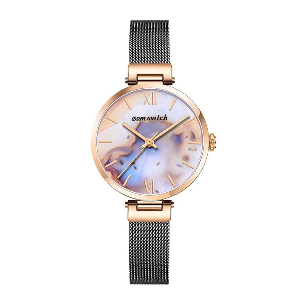DOM Watch Women Watches leather mesh band Top Luxury fashion brand ladies Gold quartz Wrist watch reloj mujer relogio feminino