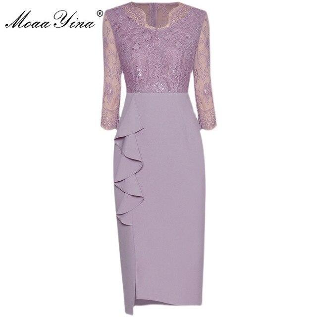MoaaYina Fashion Designer dress Spring Women's Dress V-neck Lace Patchwork Package hip Ruffles Split Dresses 2