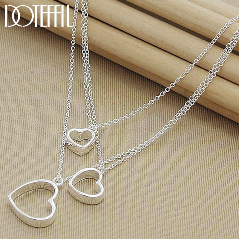 DOTEFFIL 925 Sterling Silver Three Hearts Pendant Necklace For Women Wedding Engagement Party Jewelry