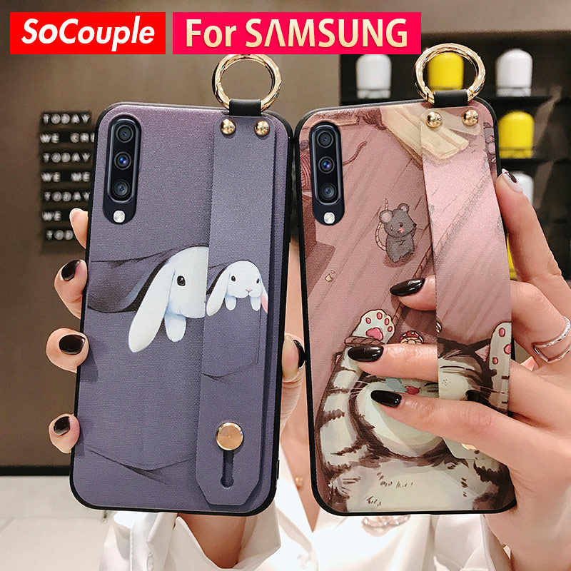 SoCouple Phone Holder Case For Samsung Galaxy A70 A60 A50 A40 A30 A20 A10 S9 S8 S10 plus S10e Note 8 9 10 plus Wrist Strap Case