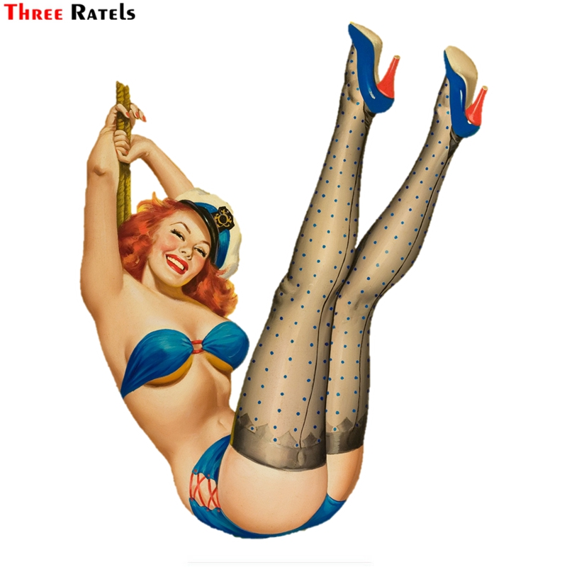 Three Ratels FTC-835# 13X16.9CM Europe And America Retro Girl Pin Up Girl Car Decal Sticker Decoration Stationery Ablum Label