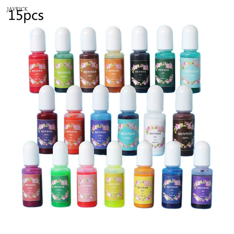 15 Pcs/set Crystal Epoxy Dye Color Essence Glue Paste Stain DIY Crafts Second Generation UV Resin High Concentration Colorant
