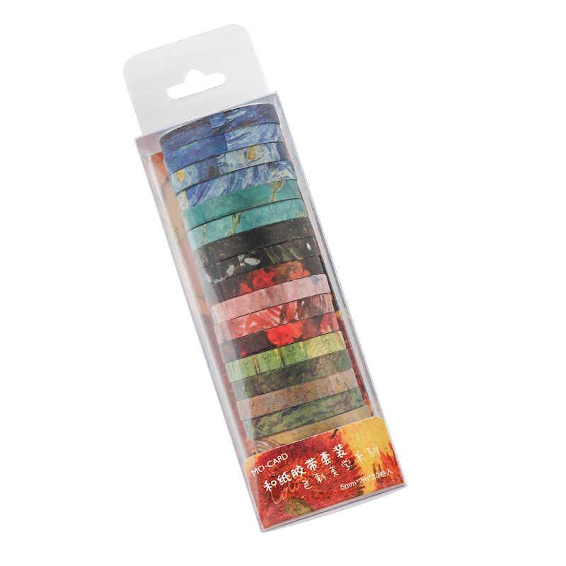 20 sztuk różne kolor taśmy Washi malowanie 5mm koronki Deco klej Galaxy Morandi taśmy maskujące dla pamiętnik Scrapbooks naklejki H6370