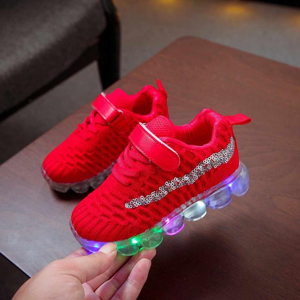 2019 Kinderen Schoenen Kinderen Kind Baby Meisjes Led Lichtgevende Sport Run Sneakers Schoenen Kids Schoenen Voor Meisjes Ademend Nieuwe Sport schoenen #5