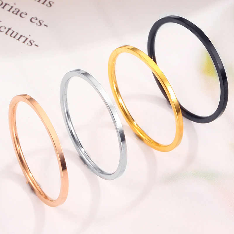 MAE 2019 New Silver Gold 1mm Thin Titanium Stainless Steel Rings For Women Men Simple Style Ins Rings Little Finger Rings