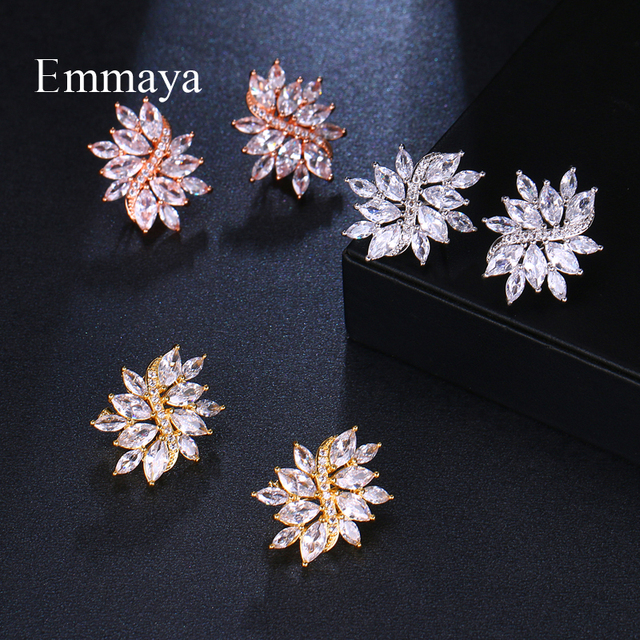 EMMAYA Female Earring Creative Symmetrical Model Colorful Jewelry AAA Cubic Zircon Fashion Trend Ear clip Crystal In Party