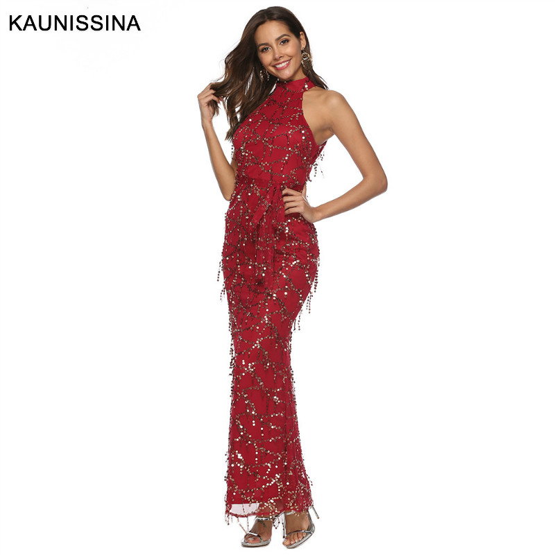 KAUNISSINA Sexy Halter Neck Tassel Sequin Evening Dress Sleeveless Red Prom Gown Women Elegant Long Formal Evening Party Dresses