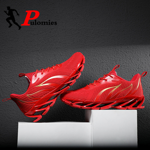 Image 2 - PULOMIES Men Spring Running Sports Shoes Lace up Fire Platform Sneakers Men Breathable Jogging Casual Shoes Large Size38 46