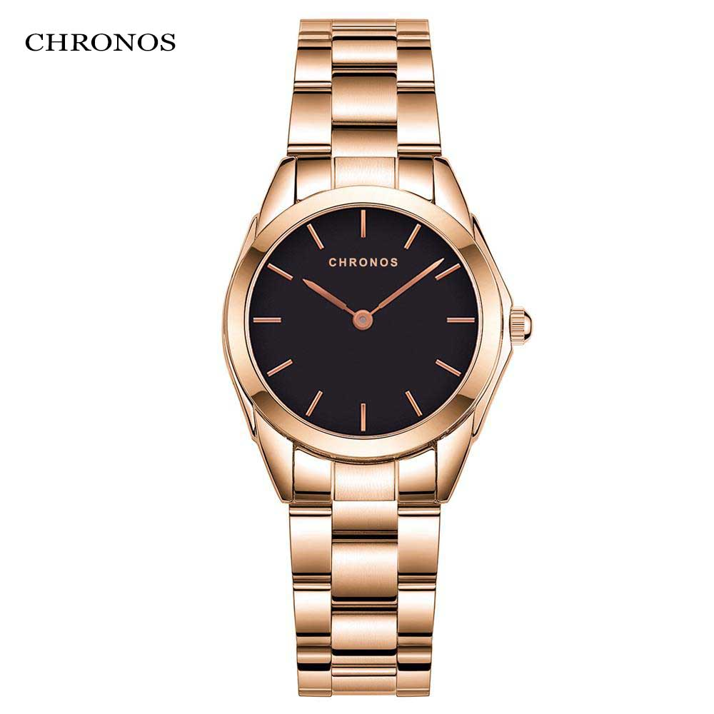 CHRONOS Women Luxury Watches Waterproof and Shock Resistant Hardlex Dials Stainless Steel Folding Strap Ladies Wristwatch CH34