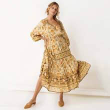 2020 New Sexy V Neck Woman Dress Summer Floral Print Lantern