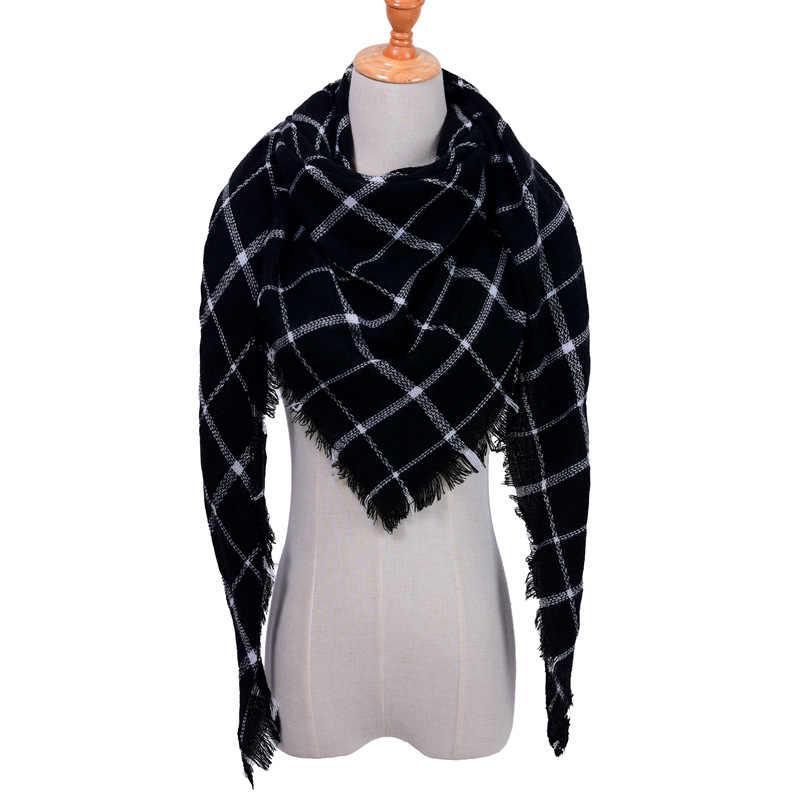 Новинка 2019, женский зимний треугольный шарф, клетчатый теплый кашемировый шарф, женские шали, Пашмина, Дамская бандана, накидка, бандана