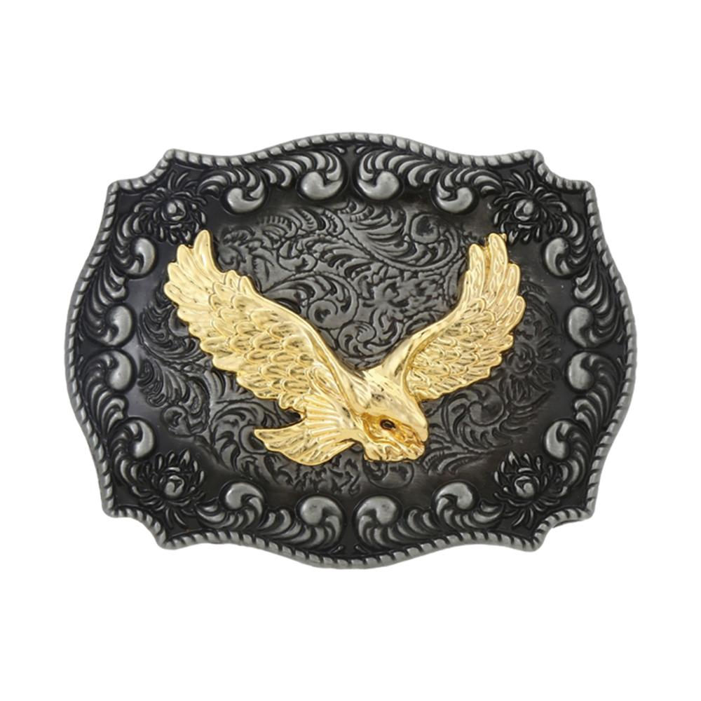 Vintage Cross Golden Eagle Inlaid Belt Buckle Men's Western Jeans With Accessories