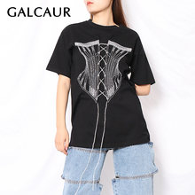 Galcaur casual t shirt for women o neck short sleeve embroidery