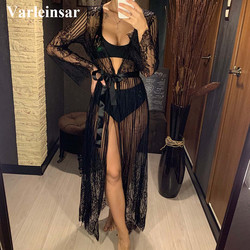 2021 Sexy Sheer Crochet Lace Tunic Beach Cover Up Elegant Cover-ups Long Beach Dress Beach Wear Beachwear Female Women V1318