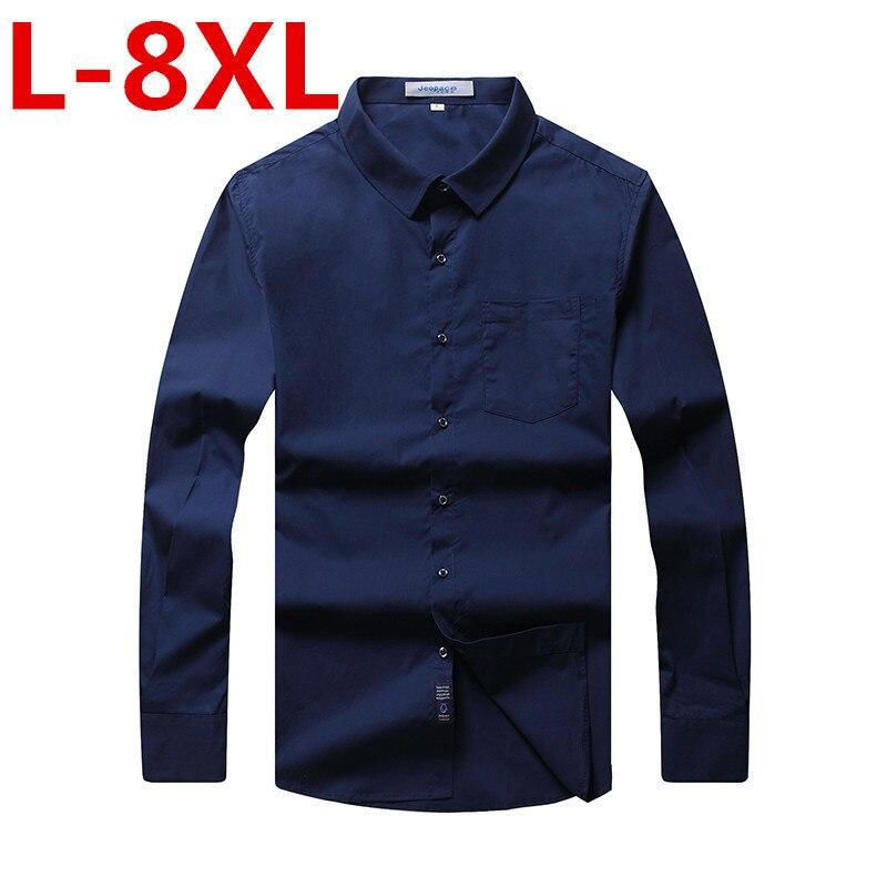 New 7XL 6XL Brand New Men Shirt Male Dress Shirts Men's Fashion Casual Long Sleeve Business Formal Shirt Camisa Social Masculina