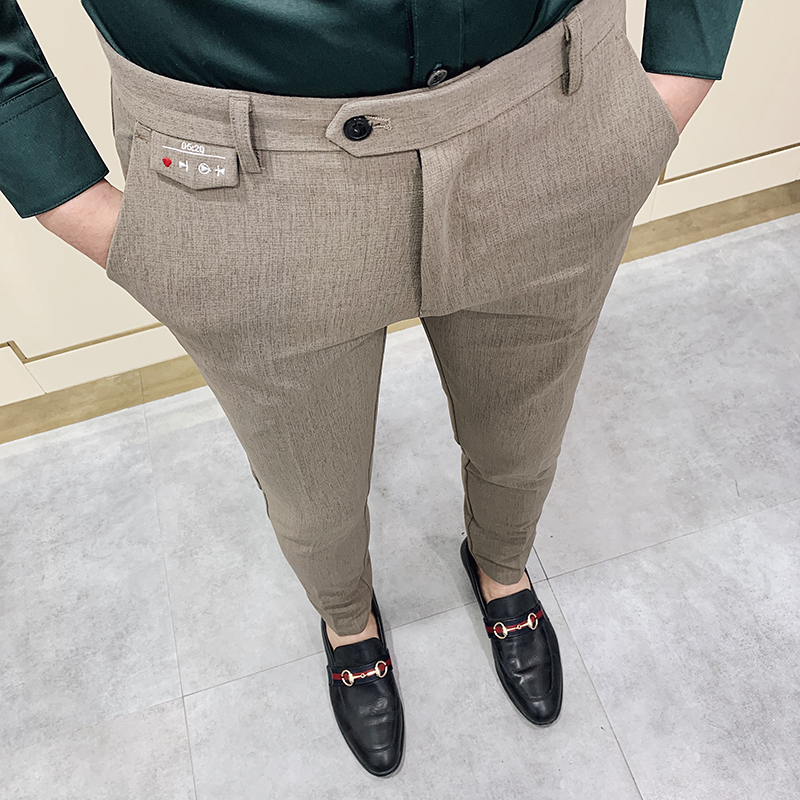 Fashion Elastic Suit Pants Men Slim Fit Dress Pants Casual Business Formal Work Trousers High Quality Party Skinny Pant 28-34