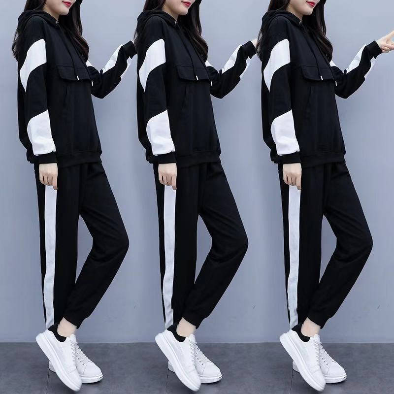 Large Size Dress Fat Mm Set 2019 Autumn And Winter New Style Western Style Slimming Brushed And Thick Fashion & Sports Two-Piece